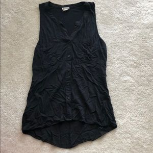 Converse one star black button front tank xs
